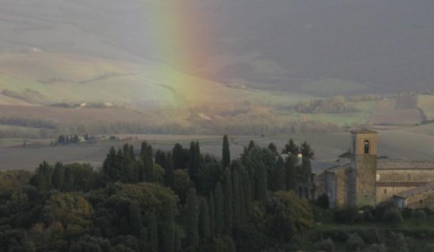 Rainbow over Montefollonico, Tuscany